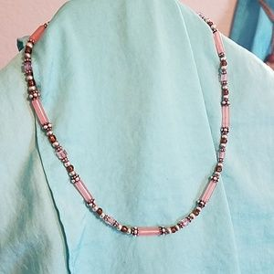 Sterling silver and rose quartz necklace